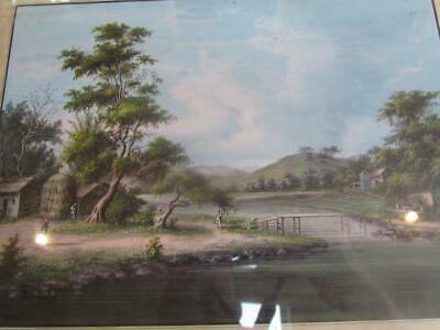 ANTIQUE 19THc. CHINESE LANDSCAPE PAINTING, CHINA TRADE EXPORT by SUNQUA, CANTON