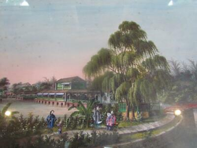 ANTIQUE 19THc. CHINESE W/C LANDSCAPE PAINTING by SUNQUA, CHINA TRADE EXPORT