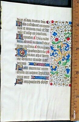 Medieval Illuminated Book of Hours Manuscript Lf.Psalm130,De profundis...c.1450