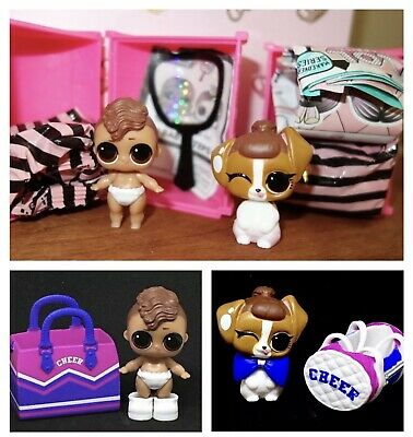 2x LOL Surprise Lil Bro Cheer & Pup Cheer Lils Doll LOT MakeoverSeries Sis Cheer