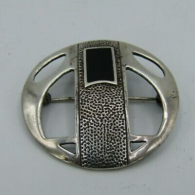 Stamped 925 Vintage Sterling Silver Hammered Round Art Deco Onyx Stone Brooch