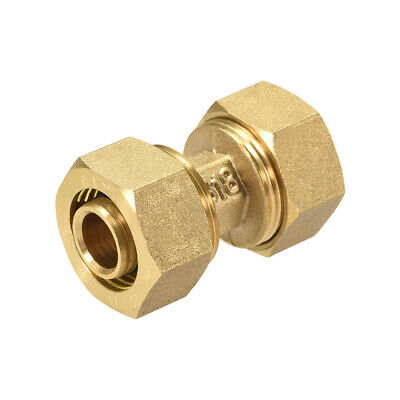Brass Compression Tube Fitting for 14mm Tube ID 18mm Tube OD Gold Tone