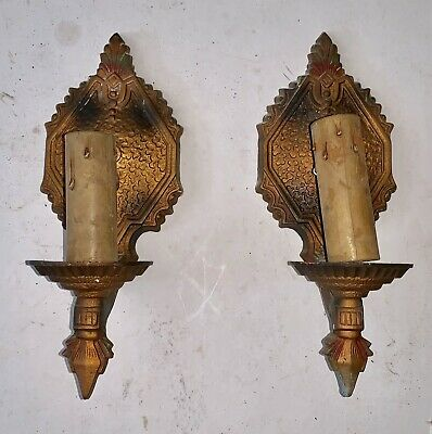 Ornate 1920's Pair of Candlestick Wall Sconces - Antique Light Sconce
