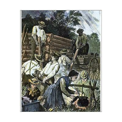"14319592 10""x8"" (25x20cm) Print USA. Settlers building their home..."