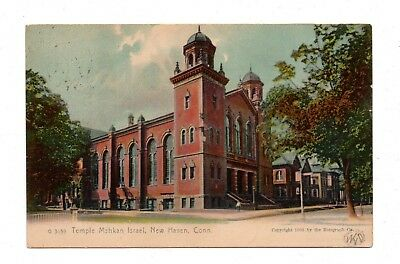 NEW HAVEN, CT, TEMPLE MSHKAN ISRAEL SYNAGOGUE, ROTOGRAPH PUB, used c. 1908-09