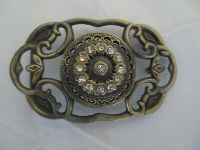 Vintage Pewter Ladies Dress Buckle With Rhinestones