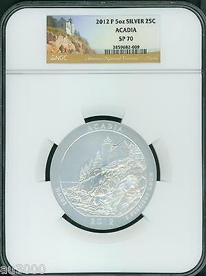 2012-P ACADIA NP Maine AMERICA THE BEAUTIFUL ATB 5 OZ. SILVER NGC SP70 SP-70