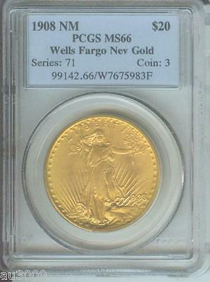 1908 NM No Motto Wells Fargo WF ST. GAUDENS DOUBLE EAGLE PCGS MS66 SAINT MS-66 !