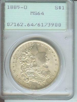 1885-O MORGAN SILVER DOLLAR PCGS MS64 MS-64 OLD RATTLER First Generation HOLDER