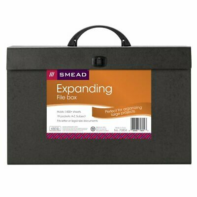 Smead Portable Expanding File Box, 19 Pockets, Alphabetic (A-Z) and Subject, ...