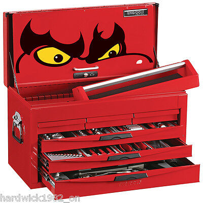 Teng Tools Super 140Piece Tool Kit With Red 6 Drawer Toolbox Top Box tool Chest