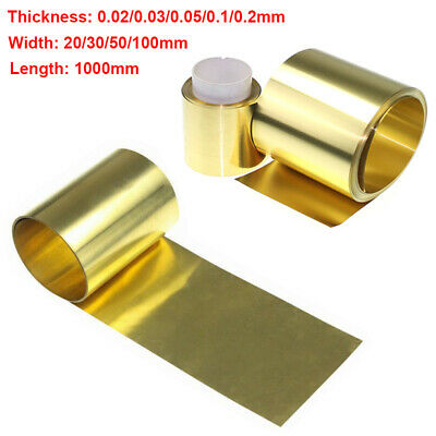 0.02/0.03/0.05/0.1/0.2mm Brass Metal Sheet Foil Plate Strip 20-100mm Width 100cm