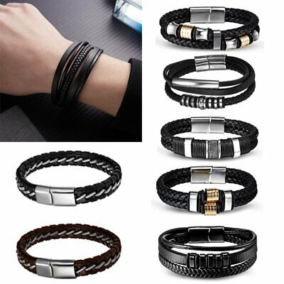 Punk Men's Leather Band Bracelets Watch Buckle Metal Magnetic Wristband Bangle