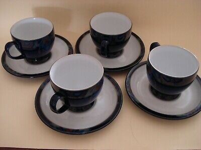 Denby BaroqueCups and Saucers Dark Blue/Peacock Feather *4*