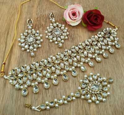 Kundan Choker Necklace Gold Plated Bollywood Bridal Indian Pearl Jewelry Set