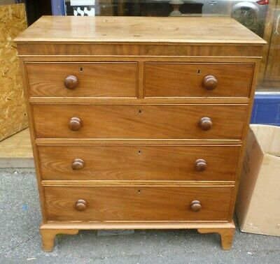 Unusual Antique Georgian Mahogany+Pine Two Over Three Chest Of Drawers