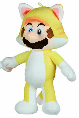 """Official Super Mario Yellow Cat Mario 14"""" Soft Plush Toy Teddy New With Tags"""