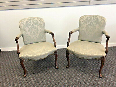 (2) Vintage ARM CHAIR PAIR French Provincial louis xv bergere lounge tufted set