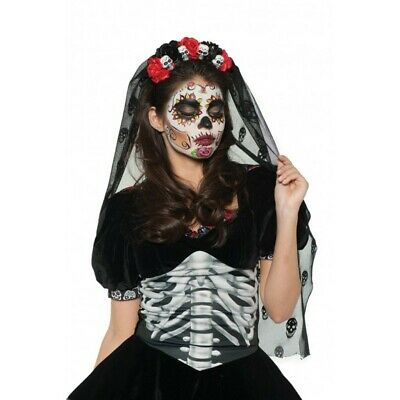 Day of The Dead Mantia Headpiece DOD Sugar Skull Headband Gothic Veil Costume