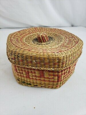 Nice native american? hexagonal covered weaved box