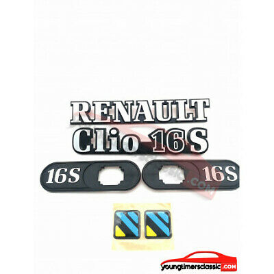 KIT logos RENAULT+ CLIO 16S + support clignotant 16S + stickers diac