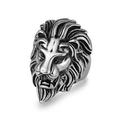 316L Stainless Steel New Silver Mens Lion Head Ring Biker Jewelry Size 8-12