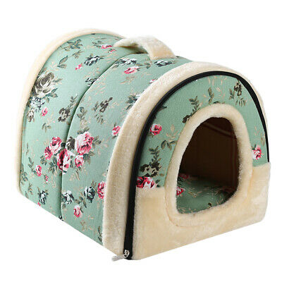Cat Dog House Foldable Puppy Cave Pet Sleeping Warm Bed Pad Nest Kennel Tent LD
