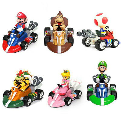 6Pcs Super Mario Mini Kart Pullback Figure Collectable Doll Toy Kids Childs Fun