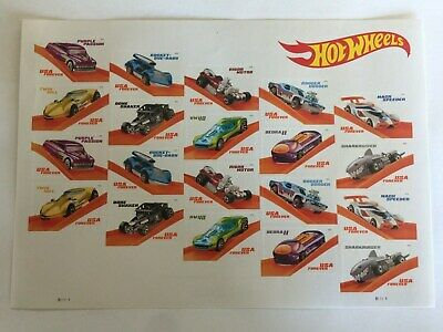 """""""HOT WHEELS"""" (1) sheet of 20 USPS FIRST CLASS FOREVER POSTAGE STAMPS"""