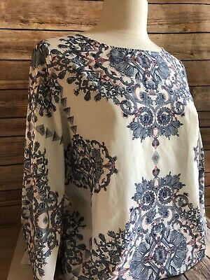 Katherine Barclay Women's Sz Medium White Blue Blouse Shirt Top Mandala Pattern