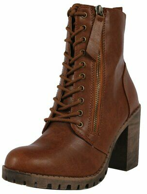 90e150742e0 SODA WOMEN CHUNKY High Heel Combat Army Military Riding Boot Booties ...