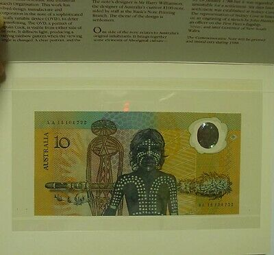 1988 1st polymer $10 note, AA serials, in folder, Uncirculated.