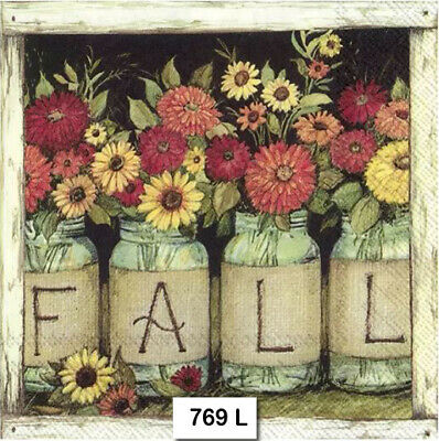 (769) TWO Individual Paper Luncheon Decoupage Napkins - FALL AUTUMN FLOWERS JARS