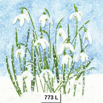 (773) TWO Individual Paper Luncheon Decoupage Napkins - SNOWDROPS FLOWERS WINTER