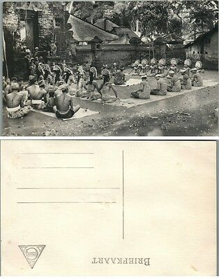 Antique Rppc Real Photo Postcard - Praying People At The Temple Malaysia (?)