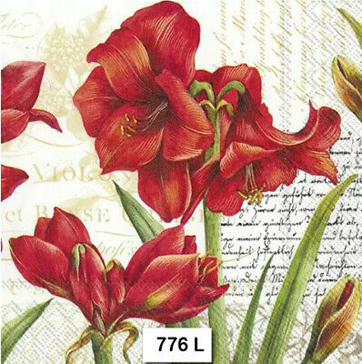 (776) TWO Individual Paper Luncheon Decoupage Napkins - AMARILLIS FLOWER LILY