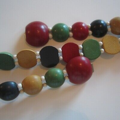 1930s 1940s Painted Dyed Wood Domed Beads Novelty Belt Ladies Vintage Fashion