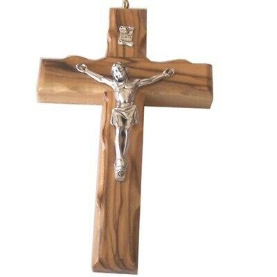 "Extra Large olive wood Wall Rosary Crucifix with hook (13.9cm - 5.5"")"