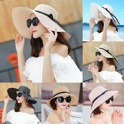 NEW Summer Womens Big Wide Brim Straw Hat Floppy Beach Sun Cap Foldable Hat UK