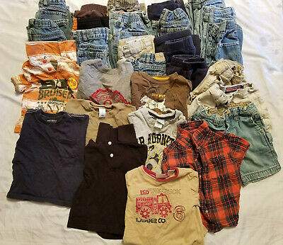 Large Lot Of 28 Toddler Boys Clothes Size 24 Months-3T Shorts Shirts Pants