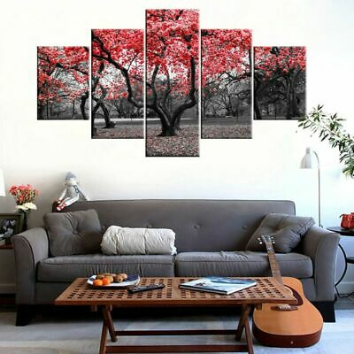 Red Tree Unframed Modern Art Oil Painting Print Canvas Picture Home Wall Decor