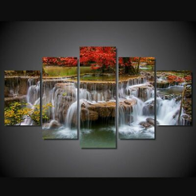 5pcs Waterfall Unframed Modern Art Oil Painting Print Canvas Picture Home Decor
