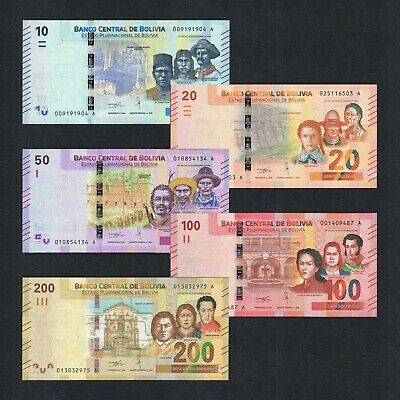 Set 2018/2019 Bolivia 10 20 50 100 200 Bolivianos P-New Unc> > > > >Colorful Set