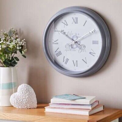 Stylish Key Grey round wall clock with inspirational quote