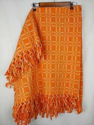 "Orange Blanket Serape Throw, Mexican Boho Falsa Blanket 47""x57"" Fringe Plaid LG"