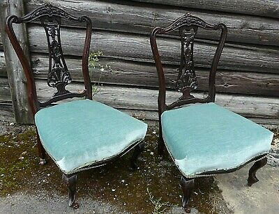 2 Antique 19thC Mahogany Upholstered Pair of Bedroom NURSING CHAIRS *Free 4m del