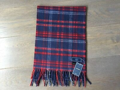 BNWT Mens John Lewis Cashmink Checked Red Blue Scarf *Free P&P*