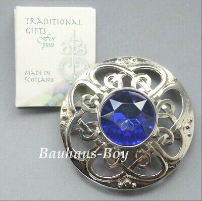 Art Pewter KILT PLAID BROOCH CULLODEN FAUX SAPPHIRE MADE IN SCOTLAND BOXED NEW