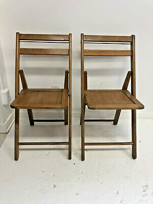 Vintage WOOD FOLDING CHAIRS Pair slat country wooden bistro wedding dining set 2