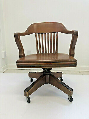 Vintage WOOD BANKER CHAIR antique office industrial wooden arm lawyer desk loft